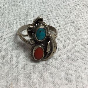 Vintage 70,s Navajo turquoise stones ss ring